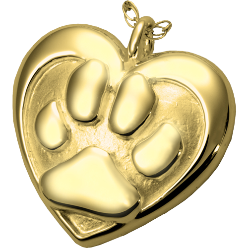 gold double heart paw print pet pendant