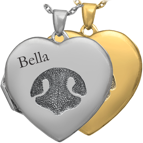 Pet Photo Heart Locket with Noseprint and name