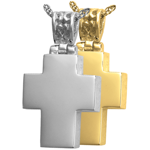 Cross with Filigree Bail jewelry shown in silver and gold metals