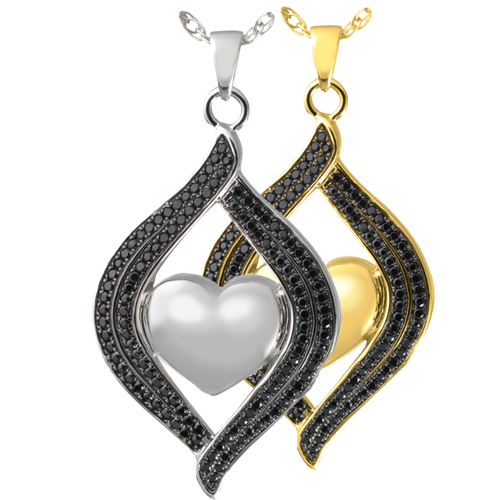 Teardrop Ribbon Heart Midnight Stones shown in silver and gold