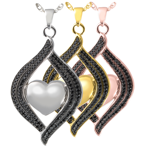 Teardrop Ribbon Heart Midnight Stones shown in silver, yellow and rose gold