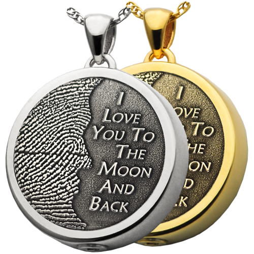 I love you to the moon and back pendant available in silver or gold