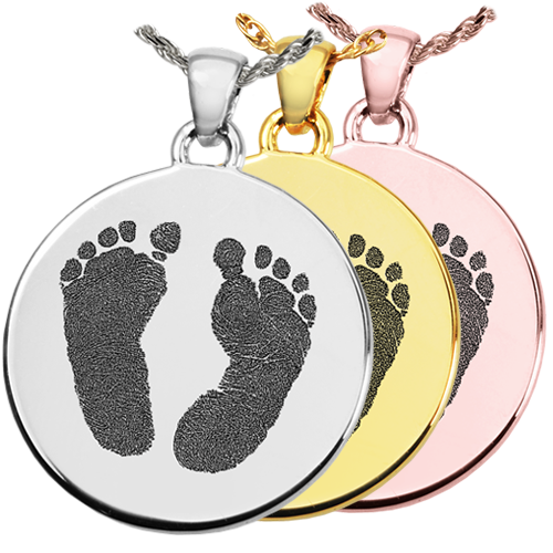 2 Baby Feet Round Jewelry in various metals