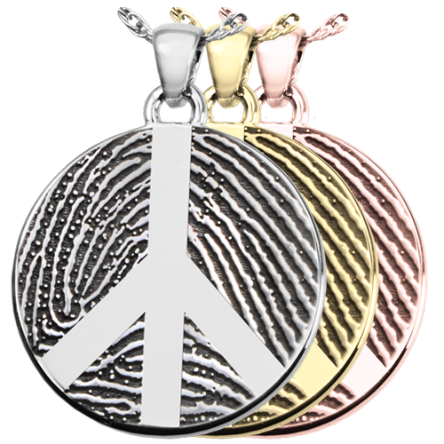 Round Fingerprint Peace Sign Jewelry shown in silver, yellow and rose gold
