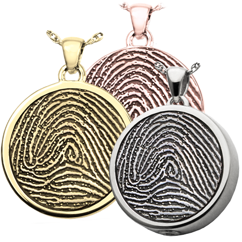 Wholesale B&B Round Fingerprint Jewelry shown in silver and gold