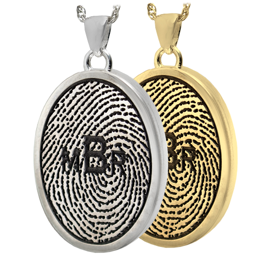 Wholesale Fingerprint with Monogram Oval Jewelry in silver and gold