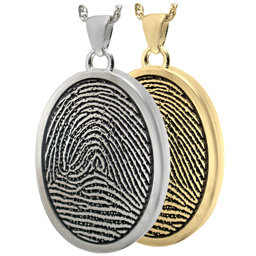 3D Fingerprint with Rim Oval Jewelry in silver and gold