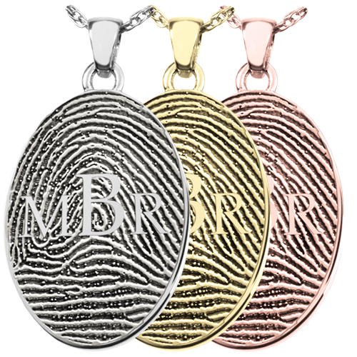 Oval Fingerprint Jewelry with Monogram in silver, yellow and rose gold