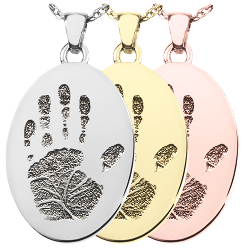 Wholesale B&B Oval Handprint Jewelry in silver, yellow and rose gold