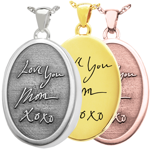 handwriting pendants in 3D or 2D styles