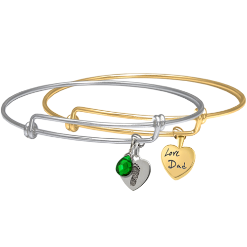 Personalized Petite Heart with Expandable Bracelet