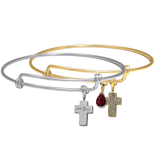 Personalized Petite Cross with Expandable Bracelet examples