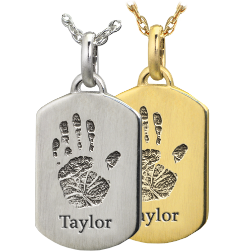 Petite Dog Tag engraved with actual Handprint and name