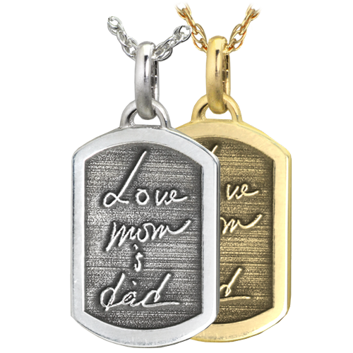Wholesale Petite Dog Tag with 3D Handwriting in silver or gold