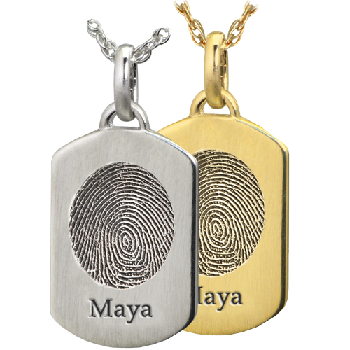 Petite Dog Tag Fingerprint and name engraved on Jewelry