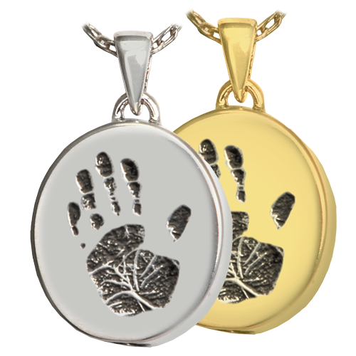 Wholesale Petite Oval with Handprint in silver or gold metal