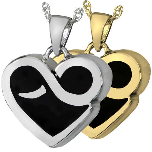 Wholesale Pet Cremation Jewelry: Infinity Heart shown in silver and gold