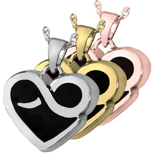 Wholesale Cremation Jewelry: Infinity Heart shown in silver and gold metals