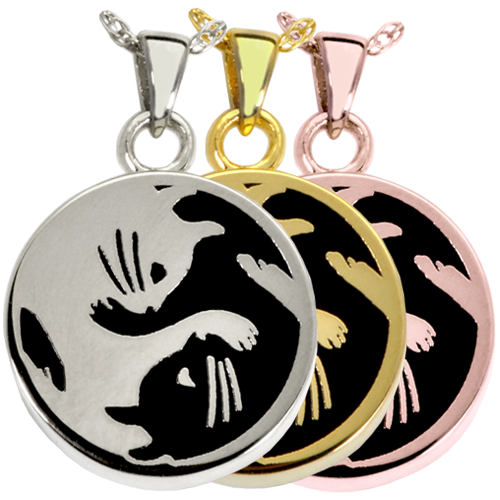 Kitty Yin Yang Wholesale Pet Jewelry shown in silver and gold metals