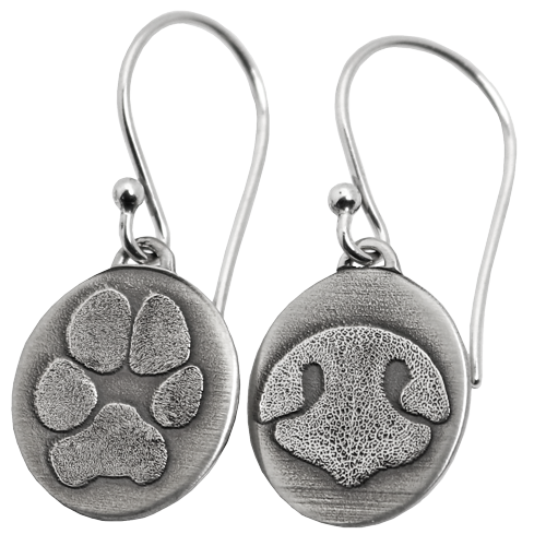 Wholesale Petite Oval Earrings Mix with pet paw print and nose print