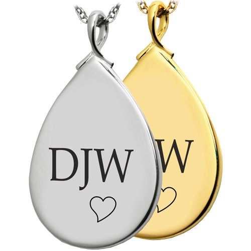 Wholesale Teardrop Flat with Text Engraving in silver or gold