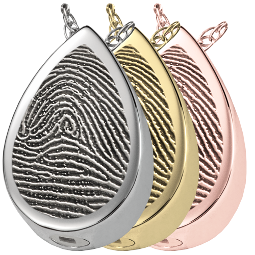 Full-coverage Fingerprint Jewelry full-coverage shown in silver and gold