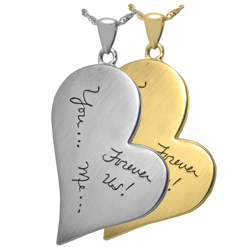 Personalized heart necklace with actual handwritten note