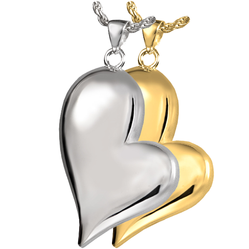 Wholesale Cremation Jewelry Teardrop Heart shown in silver and gold metals