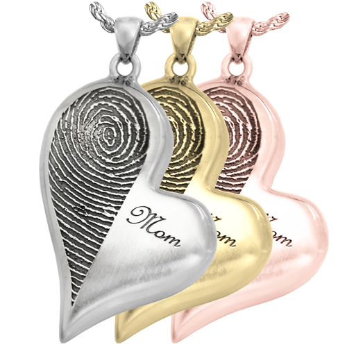 Teardrop Heart Halfprint with Name Jewelry silver, yellow and rose gold