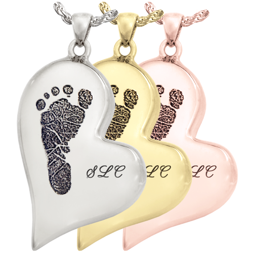 Wholesale B&B Teardrop Heart Footprint with Name Jewelry in silver and gold