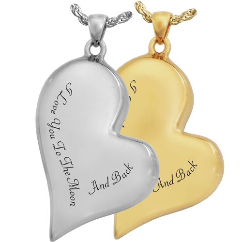 Wholesale Teardrop Heart with Text in silver or gold