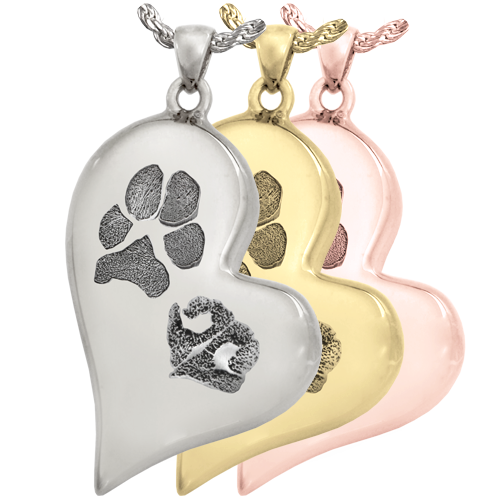 Teardrop Heart Pawprint + Noseprint Jewelry in silver, yellow and rose gold