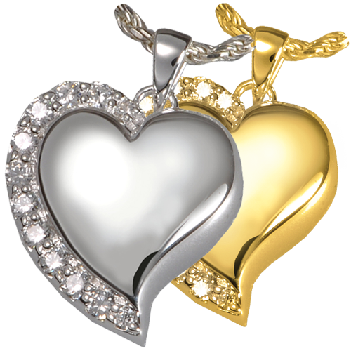 Wholesale Cremation Jewelry Shine Heart shown in silver and gold metals