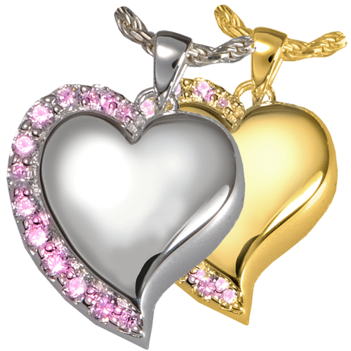 Wholesale Jewelry Shine Heart Pink Stones shown in silver and gold