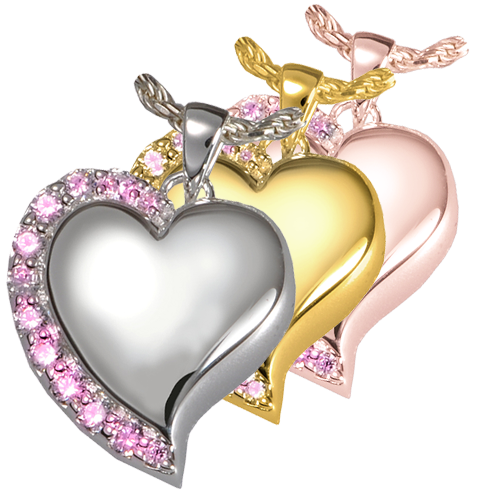 Jewelry Shine Heart Pink Stones shown in silver, yellow and rose gold