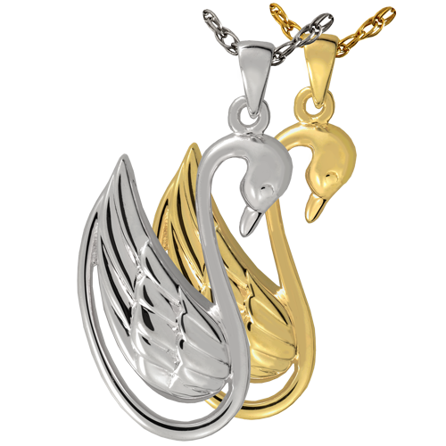 Swan cremation jewelry shown in silver and gold metals