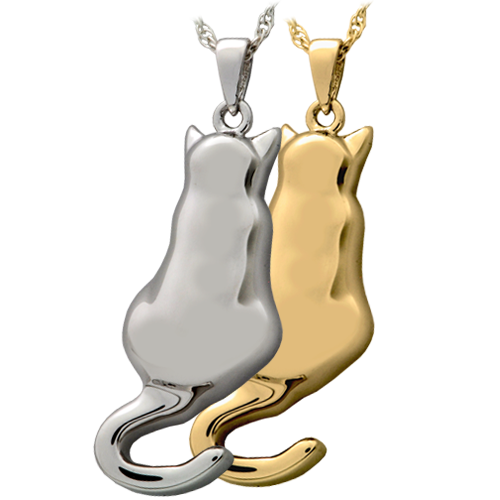 Kitty in My Window necklace pendant in silver or gold