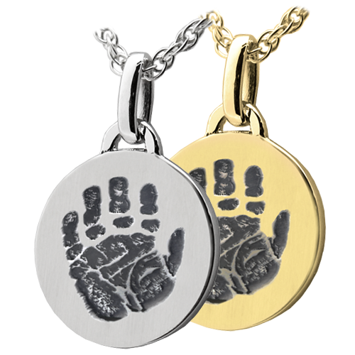 Wholesale Mini Round Handprint Jewelry in silver or gold