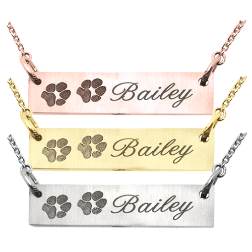 2 Paw Prints bar pendant in various metal options