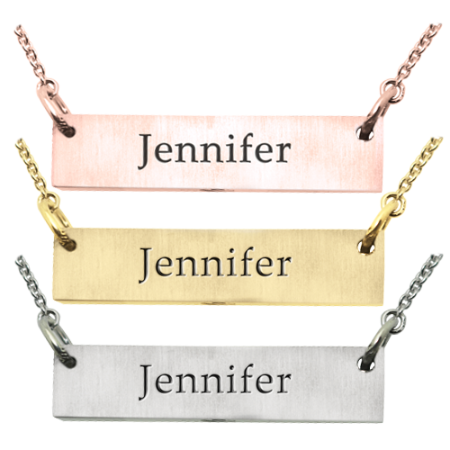 Horizontal Bar Pendant with Text Engraving in metal options