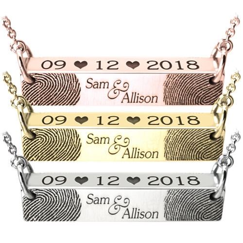 Wedding/Anniversary fingerprints bar pendant in several metal options