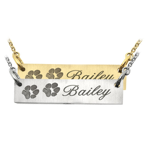 2 Paw Prints engraved on bar pendant