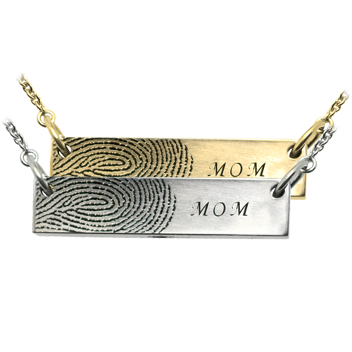personalized fingerprint bar pendant horizontal  in silver or gold