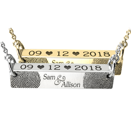 Personalized Wedding/Anniversary bar pendant in silver or gold