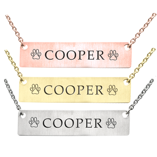Bar Pendant with Text Engraving Pet Jewelry in silver, yellow and rose gold