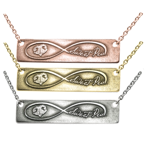 Infinity Nose Print Name 3D bar pendant in variety of metals