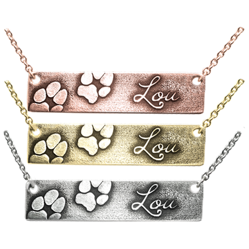 2 Paw Prints Name 3D bar pendant in several metal choices