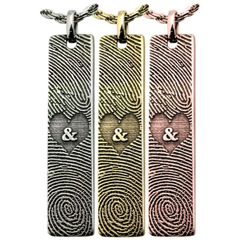 Double Finger Prints vertical bar pendant in silver, yellow and rose gold