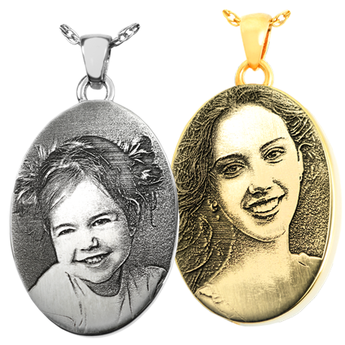 samples of photo engraved oval pendants
