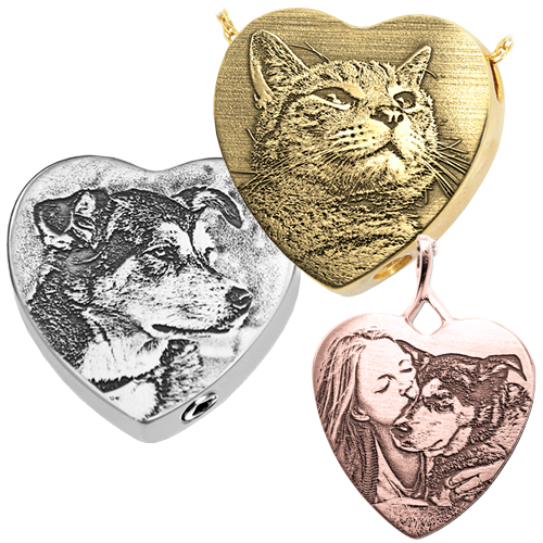 pet photo engraved on to heart pendant in different metals and styles